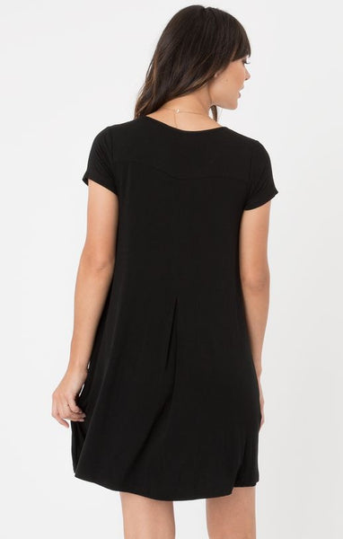 Swing T-Shirt Dress- Black