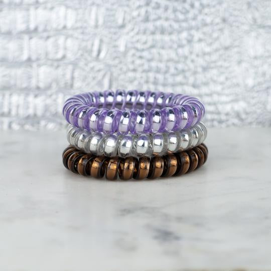 Lavender Crush Metallic Hair Tie Set
