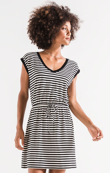 The Striped Shirred Dress