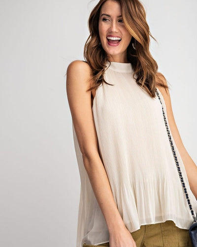 Pleated Tank w High Neck
