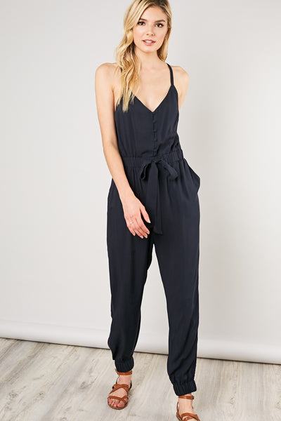 Button Front V-Neck Jumpsuit