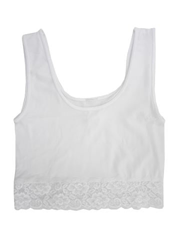 Short White Tank with Lace Hem