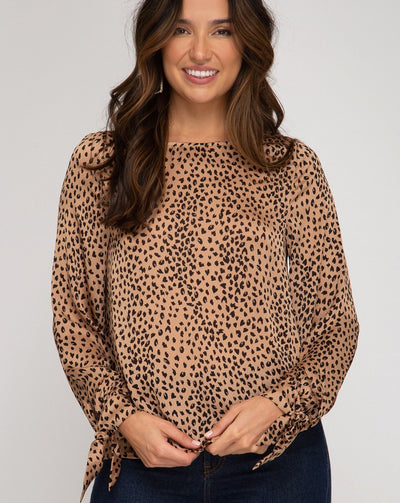 Tied Long Sleeve Animal Print Top