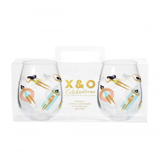 Stemless Acrylic Wine Glass Set - Pool Time