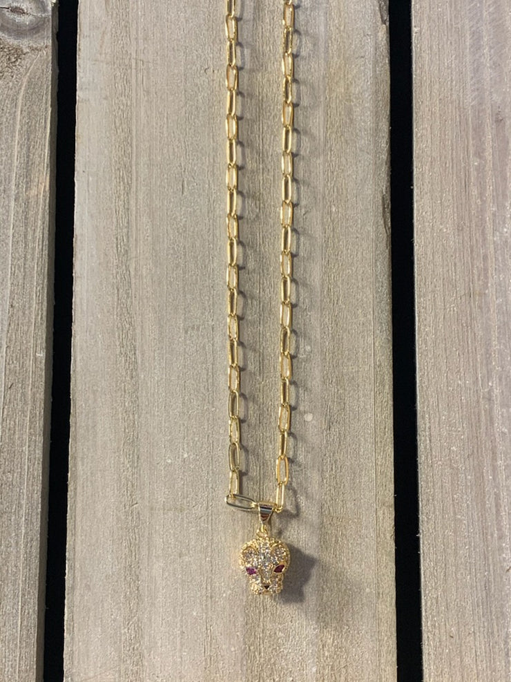 "16"" Gold Chain w Bling Pendant"