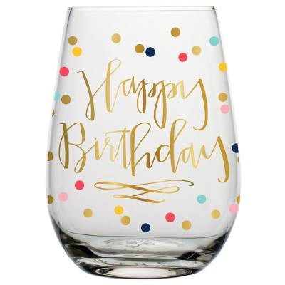 Birthday Confetti Stemless Wine Glass 30oz