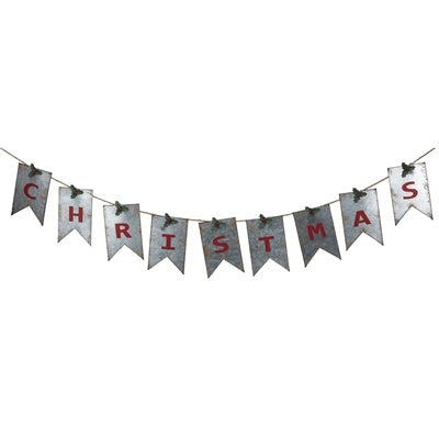 Metal Tin Christmas Banner