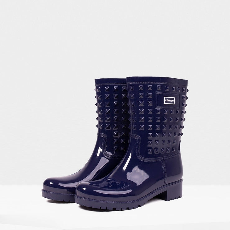 Blue Rain Boot with Spike Design