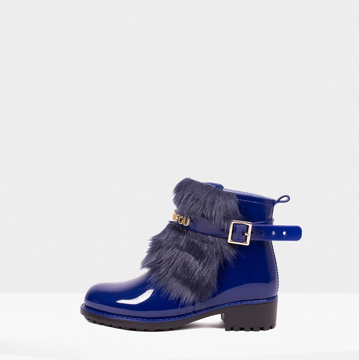 Rain Bootie with Faux Fur Trim