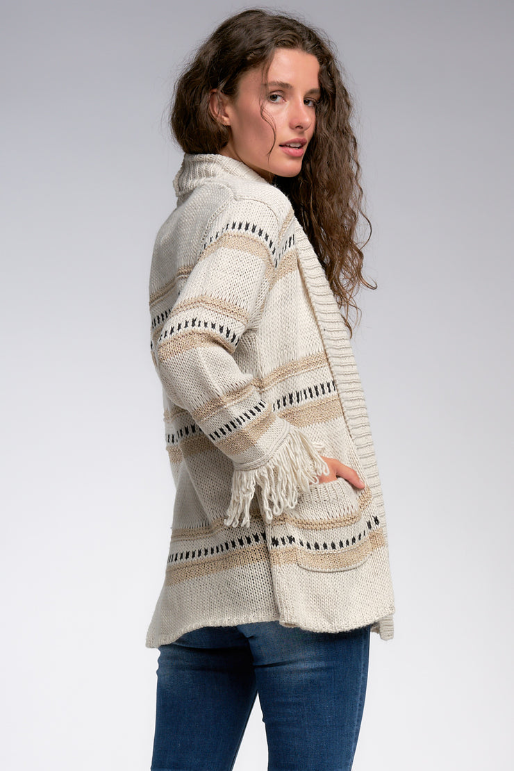 Fringe Cuff Cardigan Sweater