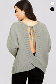 Olive Open Back Sweater