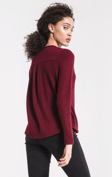 The Brushed Rib Wrap Sweater