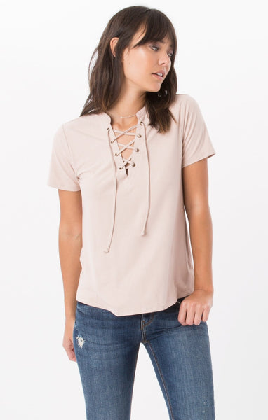The Suede Lace-Up Top