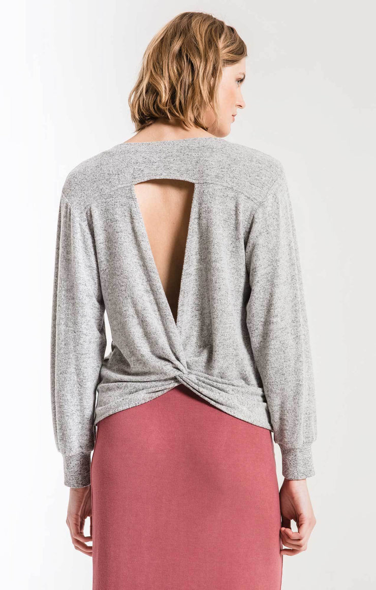 Marled Twist Back Sweater