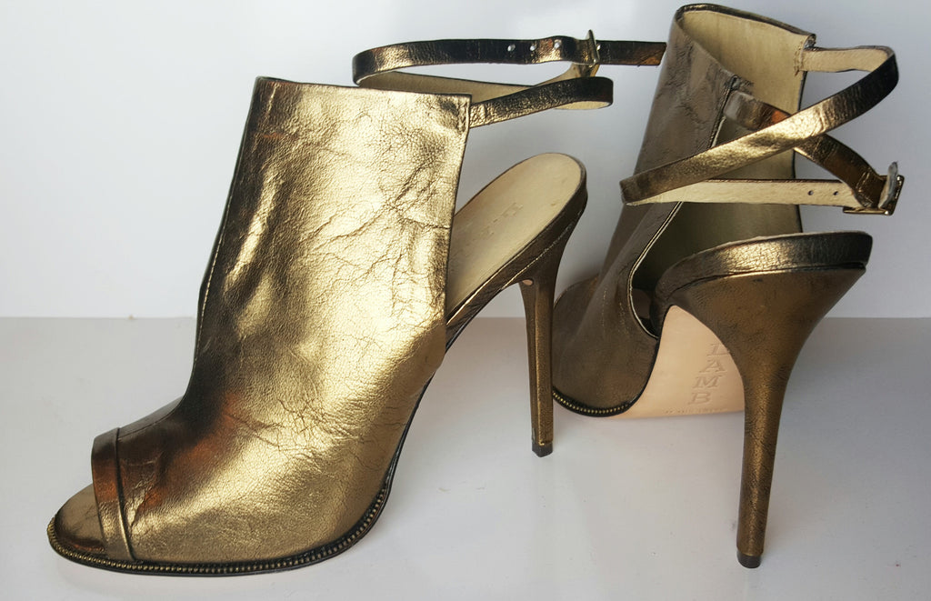 "L.A.M.B. Metallic Leather ""Ward"" Peep Toe Booties Size 39 (Fits U.S. Size 8.5-9)"