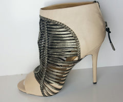 "L.A.M.B. Vanilla and Gunmetal ""Kacee"" Open Toe Ankle Boot Size 38.5 (Fits U.S. Size 8-9)"