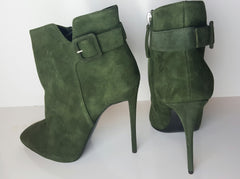 Giuseppe Zanotti Militare Suede Buckle Detail Stiletto Ankle Boot Size 37.5 (Fits U.S. Size 7-7.5)