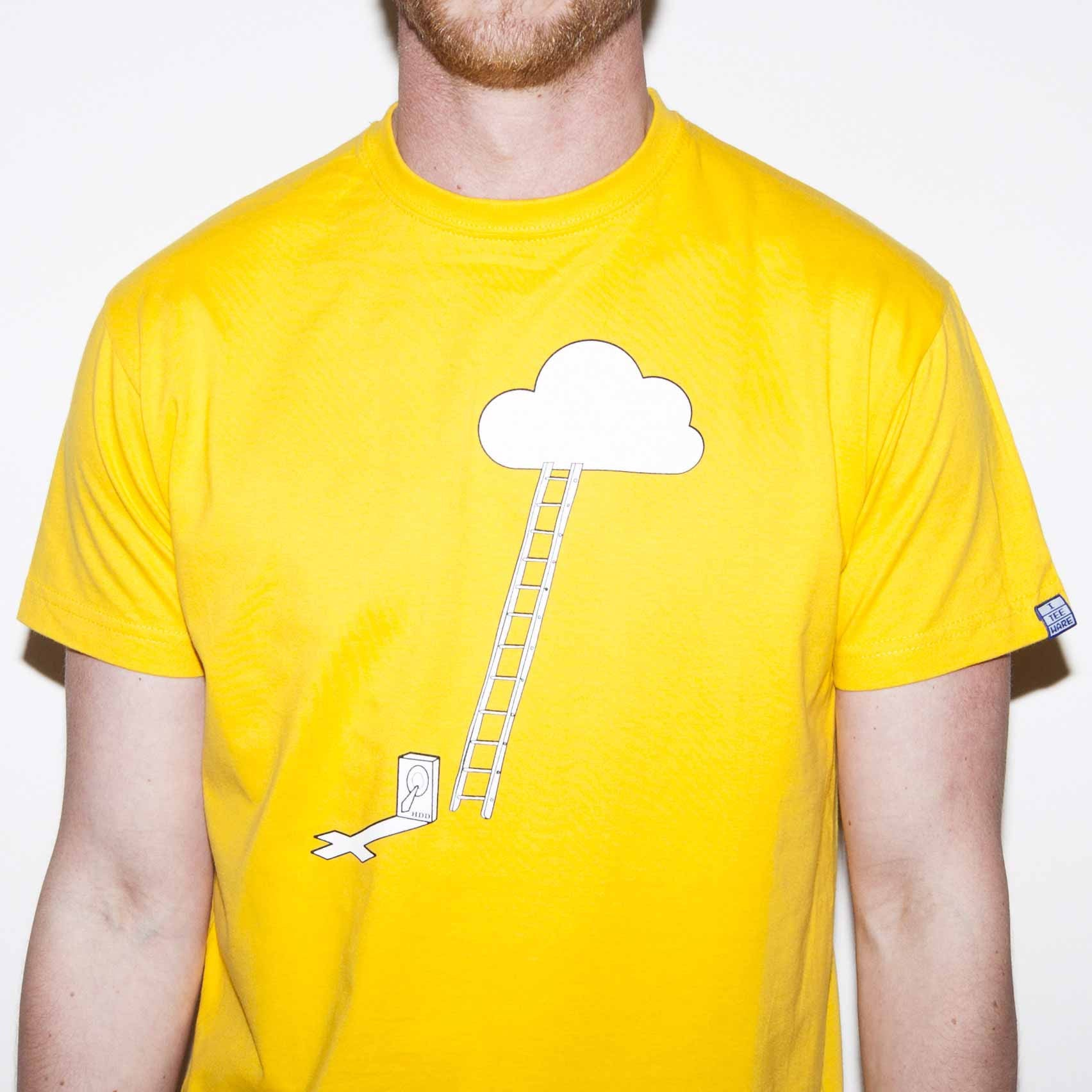 ... Yellow T Shirt With A Funny Computer Nerd Cloud Storage Geek Joke  Screen Printed In ...