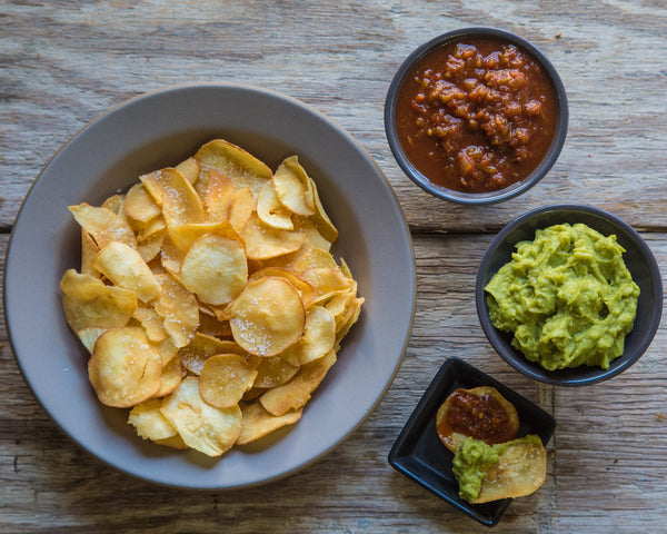 Yuca Chips with Guacamole and Salsa