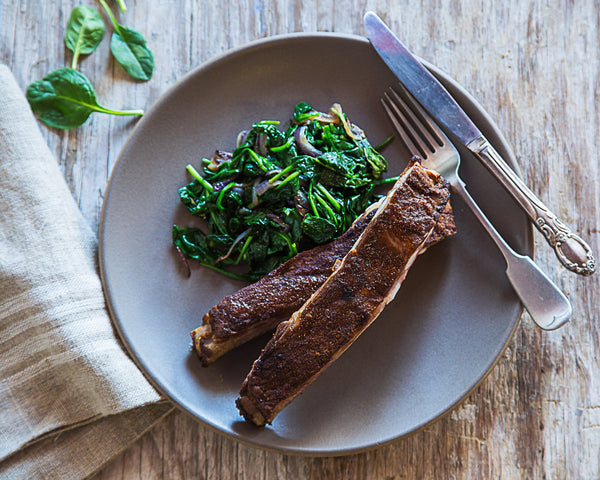 Keto Dry-Rub Ribs with Wilted Spinach