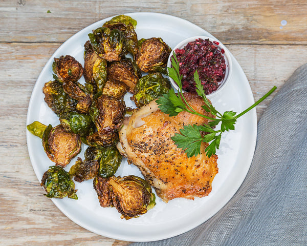 Roast Chicken w/ Brussels and Cranberry Salsa