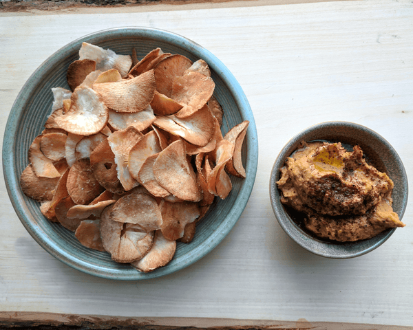 Butternut Hummus with Yuca Chips