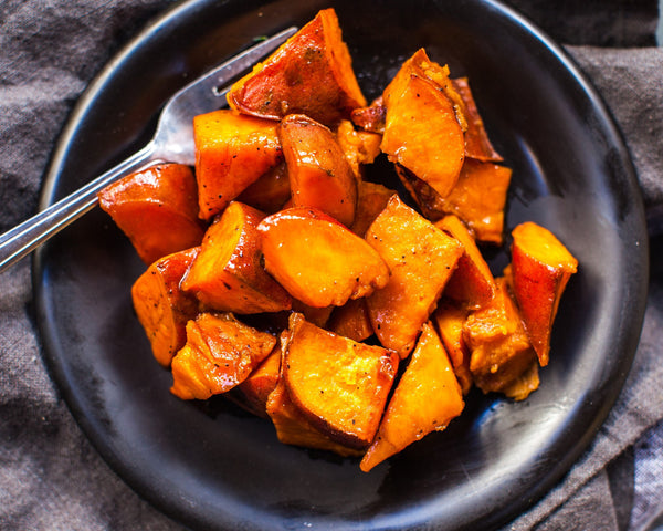Maple Roasted Sweet Potatoes (Serves 2)