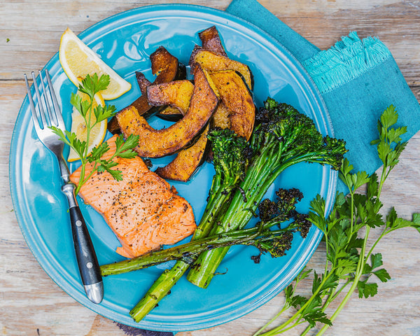 Seared Salmon w/ Broccoli and Squash