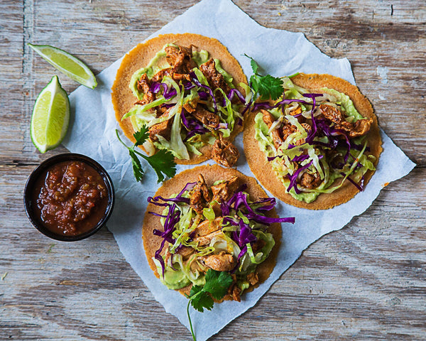 Tacos with Guacamole and Salsa