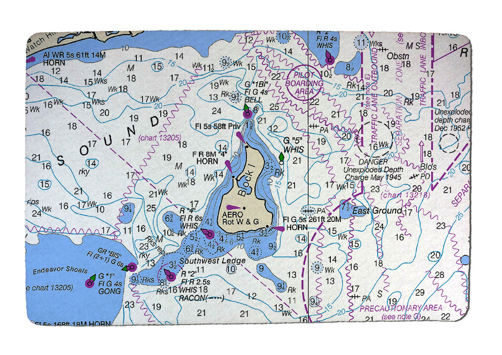 Nautical Charts Rubber-Backed Felt Placemat