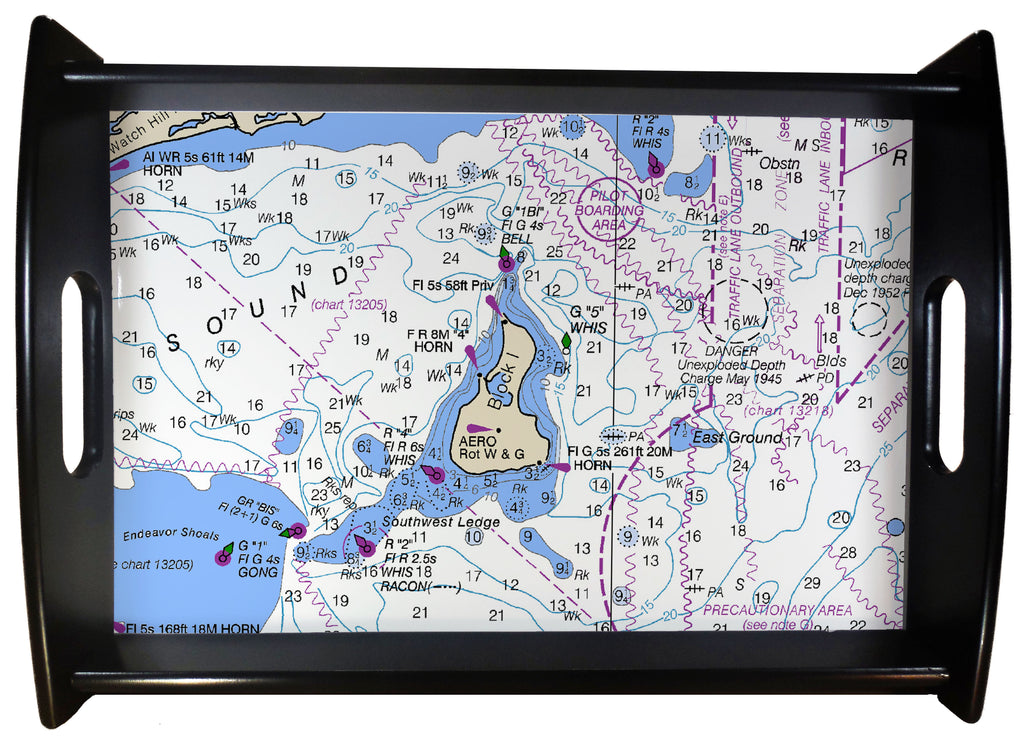 Block Island Nautical Chart SERVING TRAY