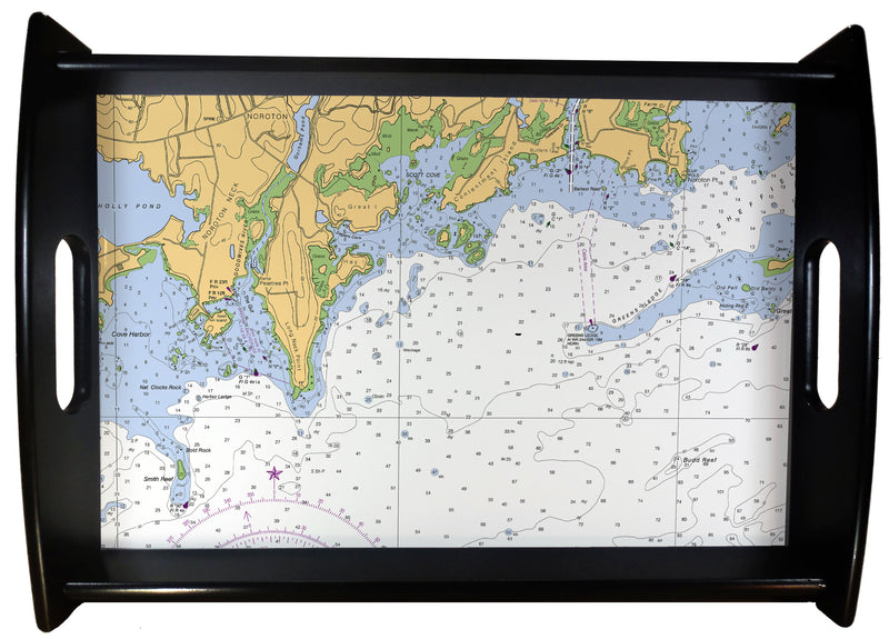 Darien CT Nautical Chart SERVING TRAY