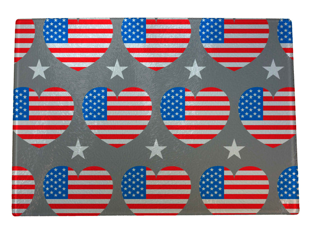 Patriot Flag Hearts Glass Cutting Board