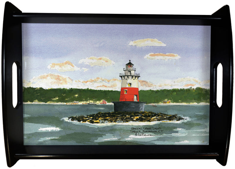 Greens Ledge Light Rowayton CT. SERVING TRAY