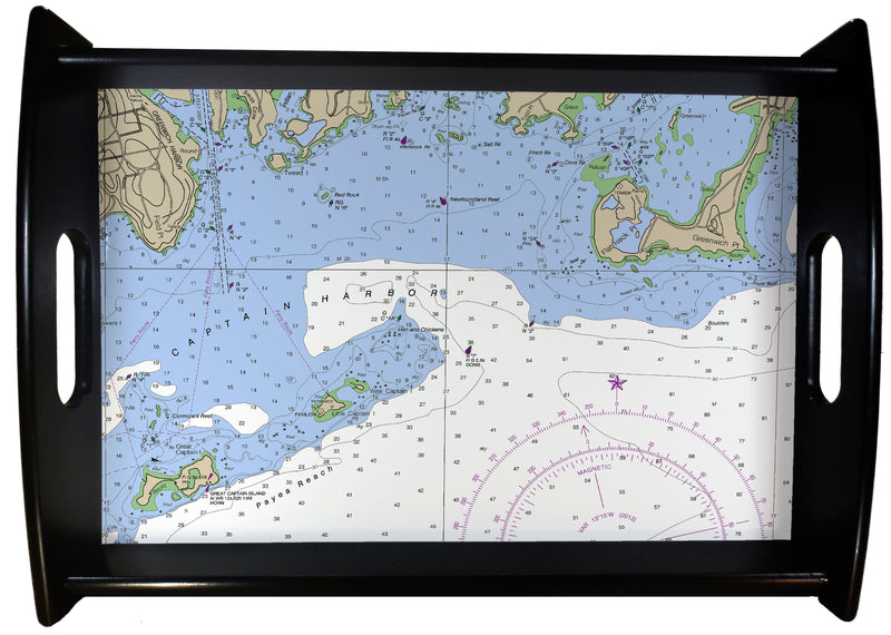 Greenwich CT Nautical Chart SERVING TRAY