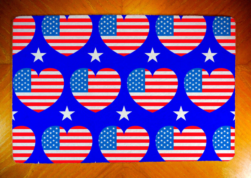 Patriotic Hearts on Rubber-Backed Felt Placemat