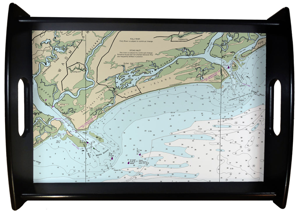 Kiawah Nautical Chart SERVING TRAY