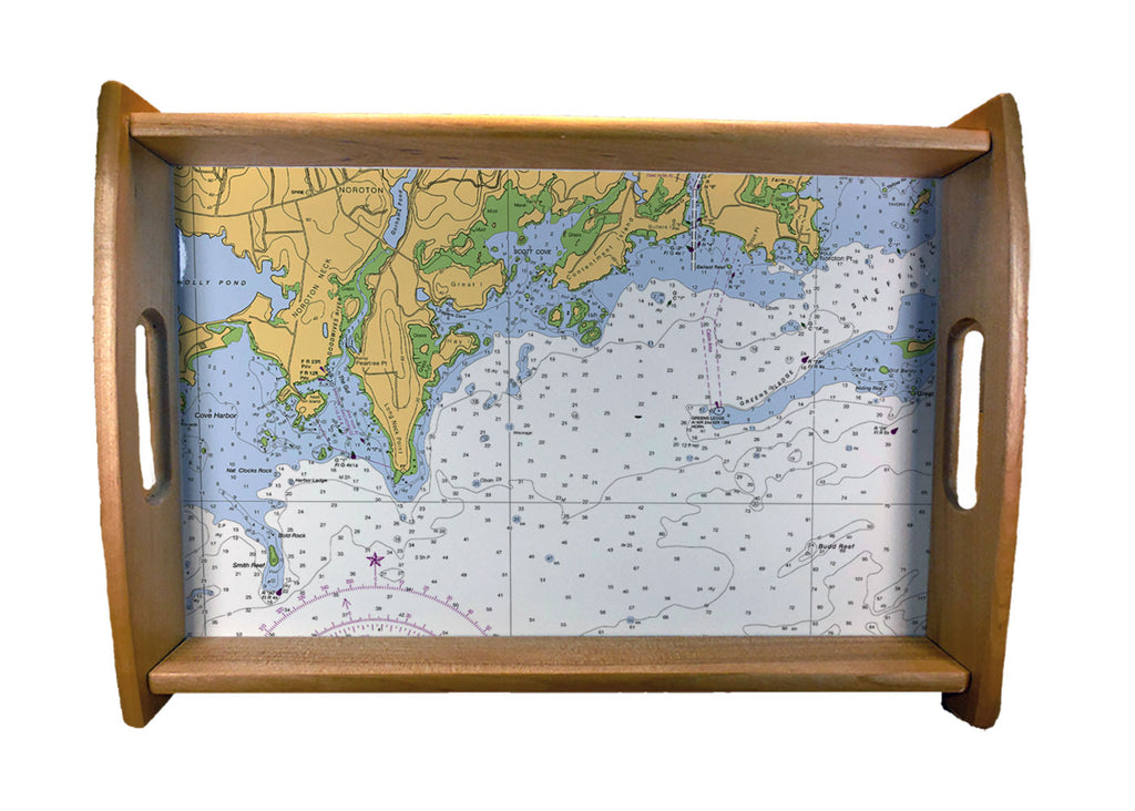 Nautical Charts Serving Trays Natural Wood Finish