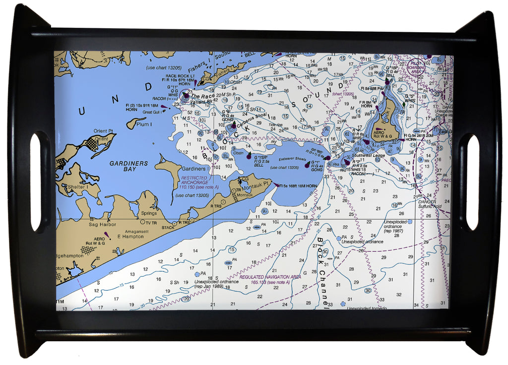Montauk Nautical Chart SERVING TRAY