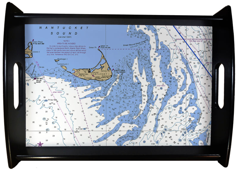 Nantucket Nautical Chart SERVING TRAY