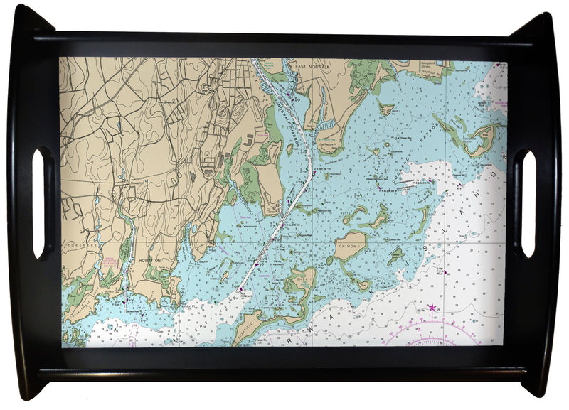 Rowayton CT Nautical Chart SERVING TRAY