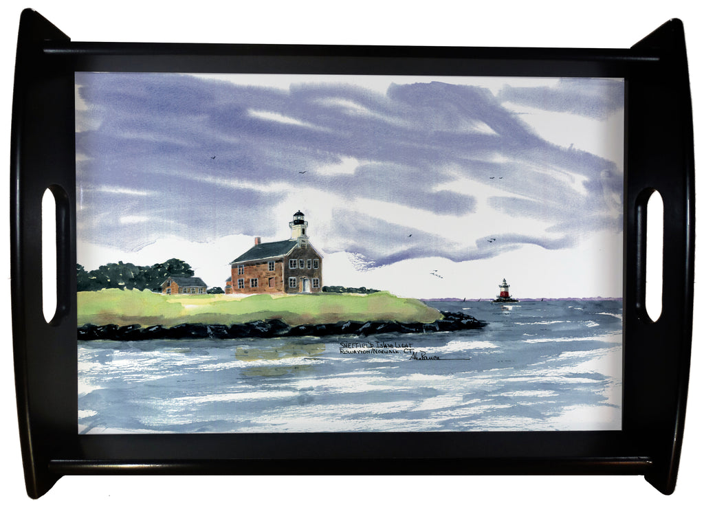 Sheffield and Greens Ledge Light Norwalk CT. SERVING TRAY