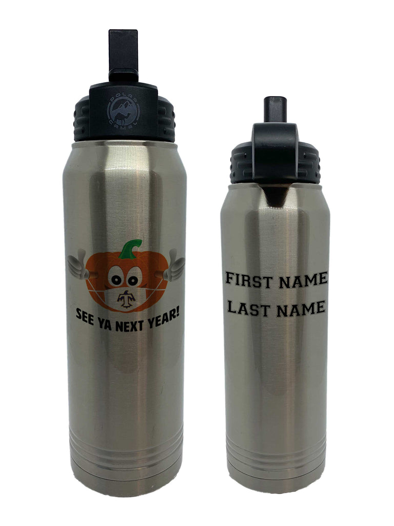 Large STAINLESS Water Bottle with Straw 32oz - PUMPKIN CARNIVAL