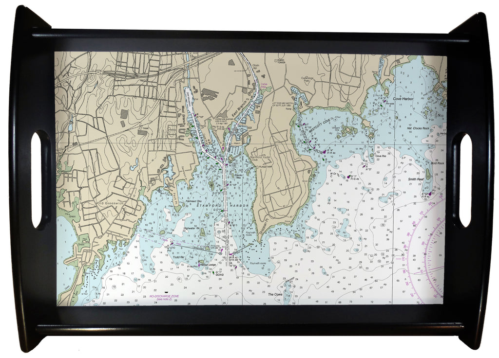 Stamford Harbor Nautical Chart SERVING TRAY