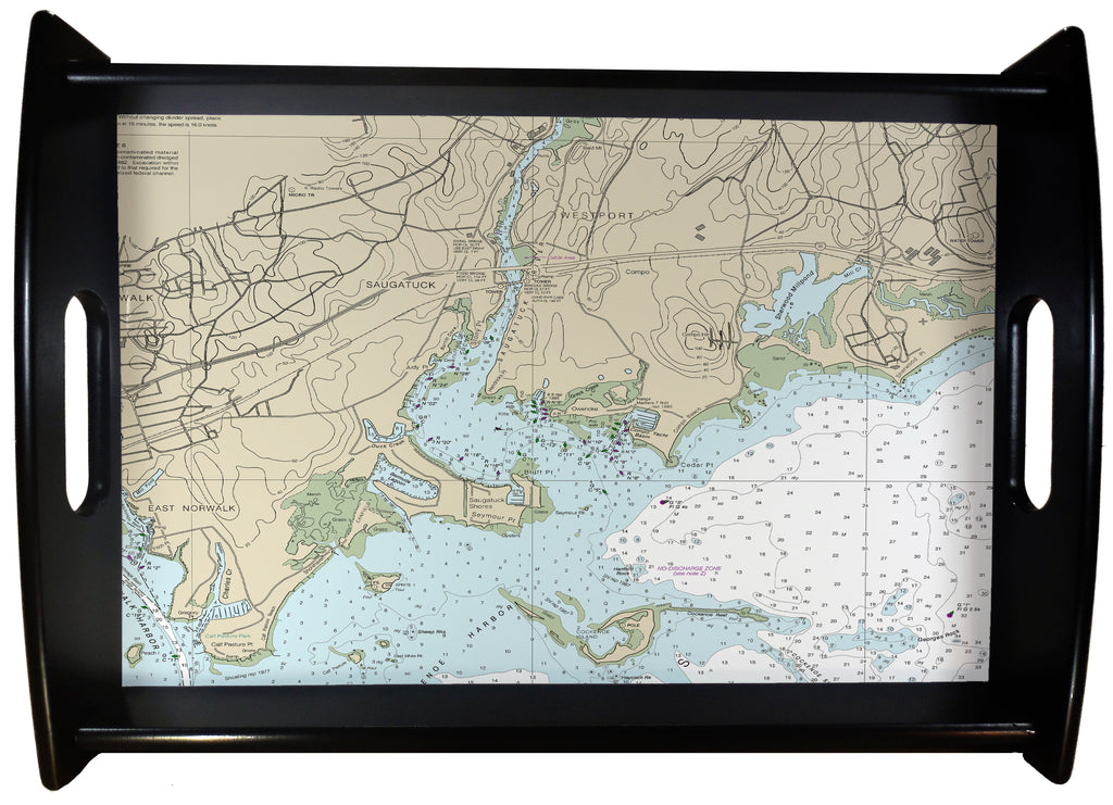 Westport CT Nautical Chart SERVING TRAY