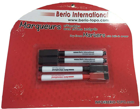 Dry erase marker with eraser - package of four