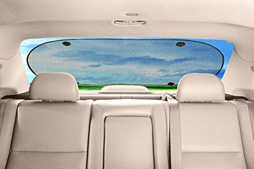 X-Shade Back Window Car Sun Shade Mesh Screen 39.4x20 Inches with Blind Spot Mirror and Suction Cups