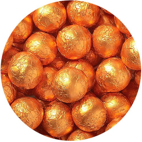 Foiled Solid Milk Chocolate Balls in Autumn Colors