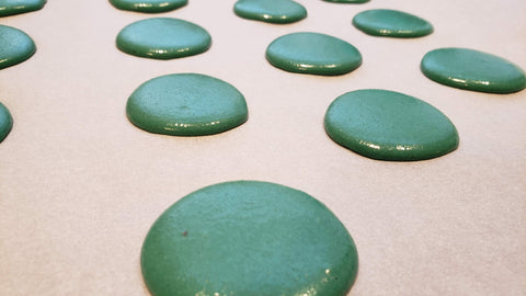 Cooking With Candy: Andes Chocolate Mint Macarons - Piped Macaron Batter