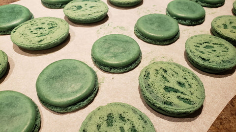 Cooking With Candy: Andes Chocolate Mint Macarons - Baked Macaron Shells with Half Flipped Over